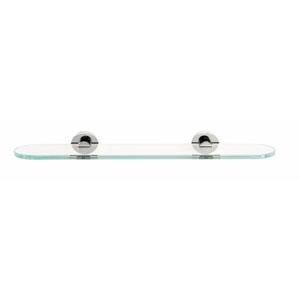 Contemporary I Satin Nickel 18-Inch Glass Shelf w/Brackets