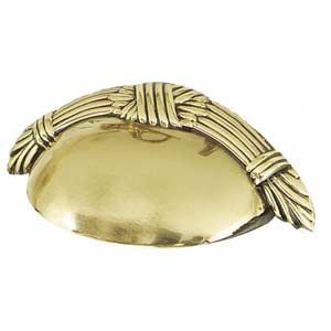 Ribbon and Reed Polished Brass Cup Pull