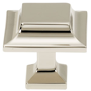 Polished Nickel 1 1/4-Inch Square Knob