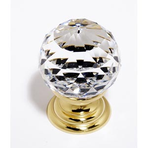 Crystal Polished Brass 30 mm Spherical Knob