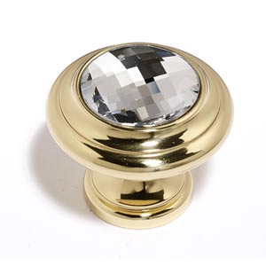 Crystal Gold 20 mm Round Knob