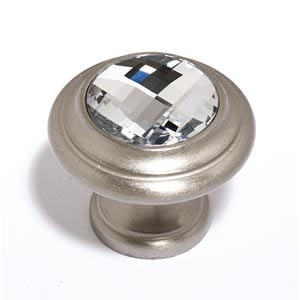 Crystal Satin Nickel 20 mm Round Knob