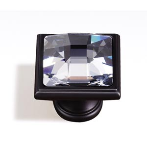 Crystal Bronze 25 mm Large Square Knob