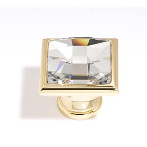 Crystal Gold 25 mm Large Square Knob