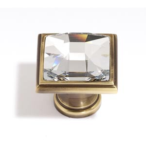 Crystal Polished Antique 25 mm Large Square Knob