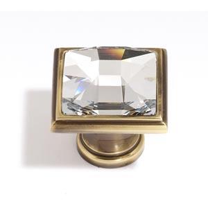 Crystal Polished Antique 25 mm Large Square Knob