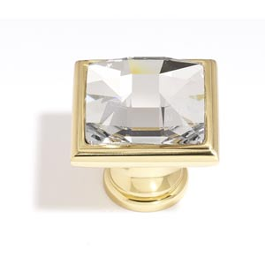 Crystal Polished Brass 25 mm Large Square Knob
