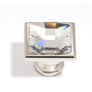 Crystal Polished Nickel 25 mm Large Square Knob
