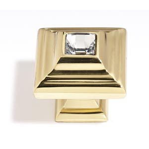 Crystal Gold 10 mm Small Square Knob