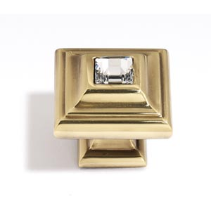 Crystal Polished Antique 10 mm Small Square Knob