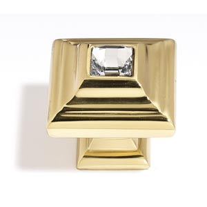 Crystal Polished Brass 10 mm Small Square Knob
