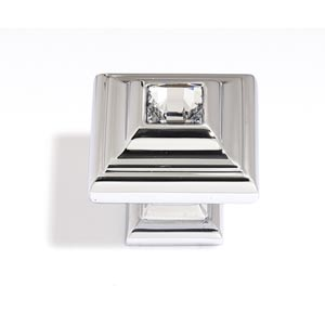 Crystal Polished Chrome 10 mm Small Square Knob