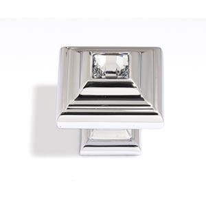 Crystal Polished Chrome 10 mm Small Square Knob