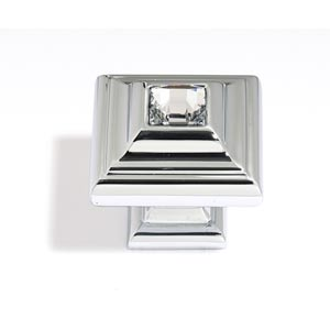 Crystal Polished Nickel 10 mm Small Square Knob