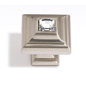 Crystal Satin Nickel 10 mm Small Square Knob