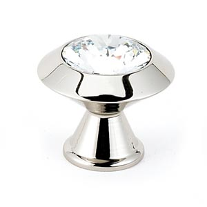 Contemporary Polished Nickel 1 1/4-Inch Art Deco Crystal Knob