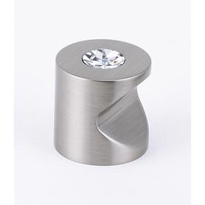 Contemporary Satin Nickel 1-Inch Crystal Knob