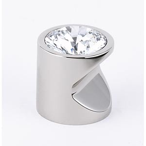 Contemporary Polished Nickel 1-Inch Large Crystal Knob