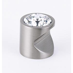 Contemporary Satin Nickel 1-Inch Large Crystal Knob