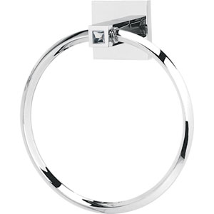 Contemporary II Crystal Polished Chrome Crystal Towel Ring