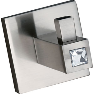 Contemporary II Crystal Satin Nickel Robe Hook