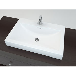 Solid Surface Series White and Matte 3.75-Inch Bathroom Sink with Overflow