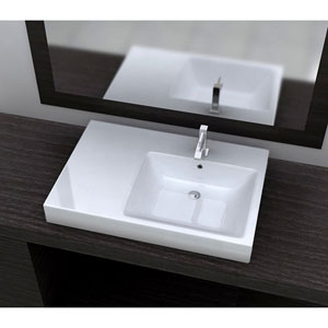 Vitreous China Series White and Glossy 7-Inch Bathroom Sink with Overflow