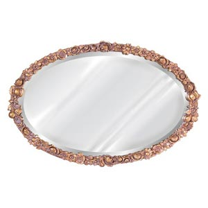 Antique Gold Flower Oval Mirror