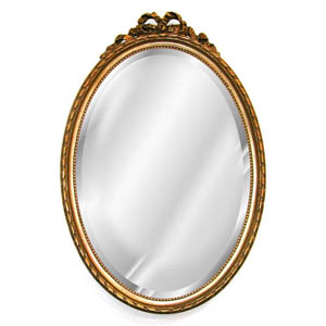 Large Oval Beveled Mirror with Bow