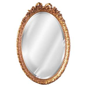Oval Beveled Mirror with Bow