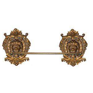 Lion Medallion Antique Gold Towel Bar