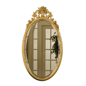 Oval Flower Basket Gold Leaf Mirror