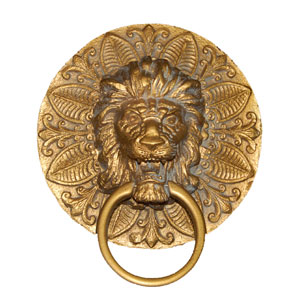 Round Lion Plaque Antique Gold Towel Holder