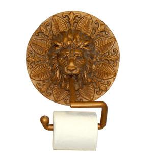 Round Lion Plaque Antique Gold Toilet Paper Holder