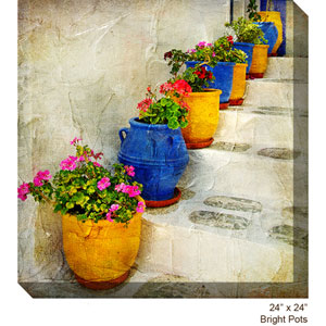 Bright Pots: 24 x 24 All Weather Outdoor Photograph Canvas Giclee
