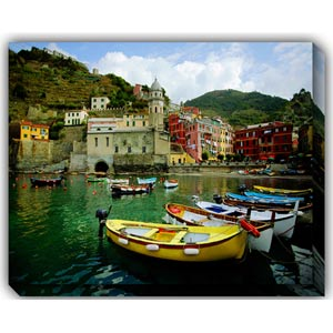 Boat In Vernazza: 40 x 30 Outdoor Canvas Giclee