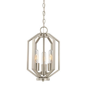Hexagon Satin Nickel Three Light Chandelier