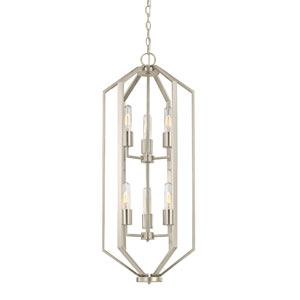 Hexagon Satin Nickel 14-Inch 6 Light Chandelier