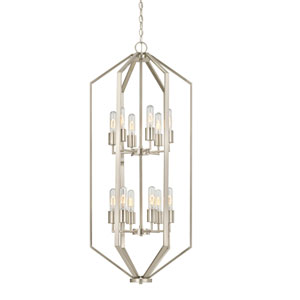 Hexagon Satin Nickel 18-Inch 12 Light Chandelier
