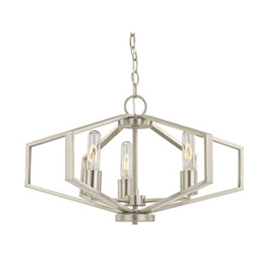 Hexagon Satin Nickel 22-Inch Three Light Chandelier