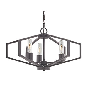 Hexagon Bolivian Bronze 22-Inch Three Light Chandelier