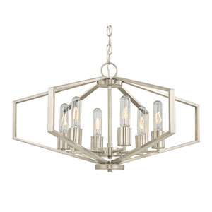 Hexagon Satin Nickel 26-Inch Six-Light Chandelier