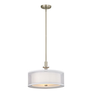 Double Organza Satin Nickel Three-Light Pendant