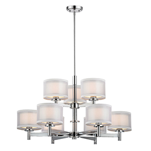 Double Organza Chrome Nine Light Two Tier Chandelier