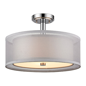 Double Organza Chrome Three Light Semi Flush Mount White Shade