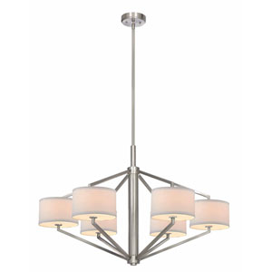 Monaco Six-Light Large Satin Nickel Chandelier