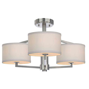 Monaco Three-Light Satin Nickel Semi-Flush