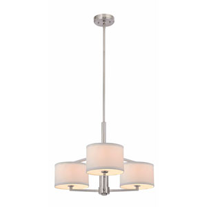 Monaco Three-Light Satin Nickel Chandelier