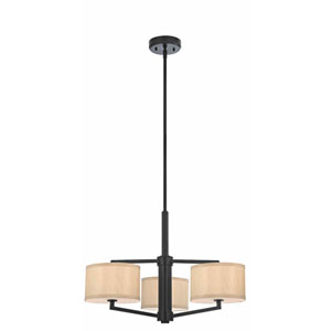 Monaco Three-Light Ebony Bronze Chandelier