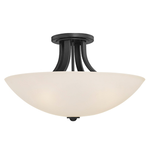 Fireside Warm Bronze Three Light Semi Flush Mount